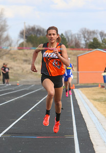 Bayard's Jessi Smith prepares to cross the finish line in the girls 800 meter run. Set a new meet record. 2:23:31