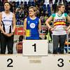 Vlnr: Annelies Sarrazin, Myriam Nicolas & Liesbet Desmet Podium 3 Km Snelwandelen - BK Indoor Alle Categorieën - BLOSO Topsporthal - De Blaarmeersen - Gent