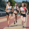 Aankomst 800 M Dames met Mathilde Jacquemin (WACO), Louise Hayez (White Star Brussels) & Lisa Fickers (Leichtatletik Eupen) @ Belgisch Kampioenschap Atletiek voor studenten - Stade La Mosane - Jambes - Namen