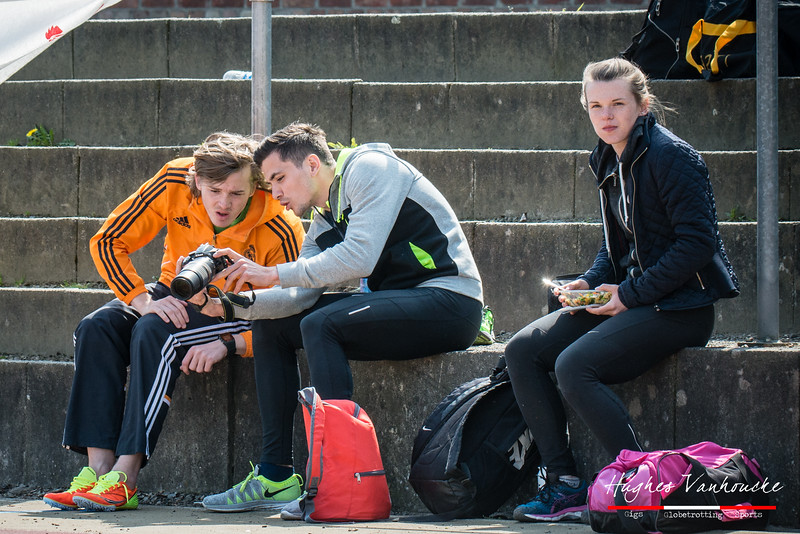 FLAC atleten Yngwie Vanhoucke, Mathias Sanctorum & Céline Delheye @ Belgisch Kampioenschap Atletiek voor studenten - Stade La Mosane - Jambes - Namen