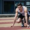 Mathias Sanctorum in de startblokken van de 400 M @ Belgisch Kampioenschap Atletiek voor studenten - Stade La Mosane - Jambes - Namen