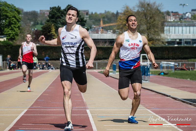 Mathias Sanctorum (FLAC Izegem) in strijd met Olivier Thomas (CABW/UCL) voor de tweede plaats op de 400 M @ Belgisch Kampioenschap Atletiek voor studenten - Stade La Mosane - Jambes - Namen