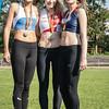 Podium 800 M met vlnr Lisa Fickers (Leichtatletik Eupen), Louise Hayez (White Star Brussels) & Mathilde Jacquemin (WACO) @ Belgisch Kampioenschap Atletiek voor studenten - Stade La Mosane - Jambes - Namen