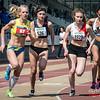 Start 800 M Dames met Jenny Gloden (Celtic Luxemburg), Mathilde Jacquemin (WACO), Louise Hayez (White Star Brussels) & Lisa Fickers (Leichtatletik Eupen) @ Belgisch Kampioenschap Atletiek voor studenten - Stade La Mosane - Jambes - Namen