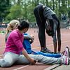 Hollandse atletes bij  het strechten