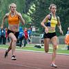 Caroline Ego & Silke Berendse (NL) in de finale 100 M op het Belgisch Kampioenschap voor Studenten