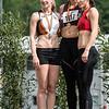 Podium van het hinkstapspringen: Stefie Mievis, Sietske Lenchant & Elsa Loureiro