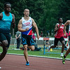 Chamberry Muaka, Samuel Heymans & Willem Geuskens in de reeksen 100 M op het Belgisch Kampioenschap voor Studenten