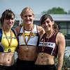 Podium 400 M Horden met vlnr Véronique Trussard, Hanne Claes & Eva Duynslaeger