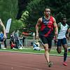 Jean-Marie Louis Jr. in de reeksen 100 M op het Belgisch Kampioenschap voor Studenten