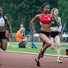 Alison Diwani, Laura Leprince, Shana Vanhaen & Debbie Baltes (NL)  in de finale 100 M op het Belgisch Kampioenschap voor Studenten