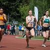 Gabriella Wijck, Elise Mehuys & Carole Gaspar in de reeksen 100 M op het Belgisch Kampioenschap voor Studenten