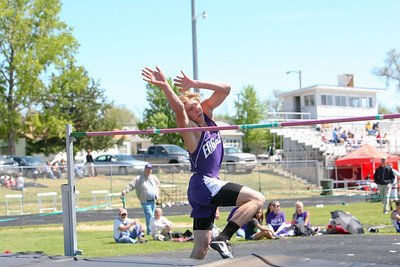 Garden County's Kane McLaughlin wins the high jump with a hight of 6-6