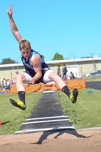 Banner County's Ben Hostetler in the long jump