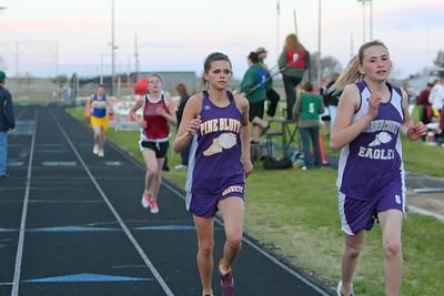 Garden County's Alisha Heelan and Pine Bluff's Kayla Steger girls 800 meter run. Heelan wins