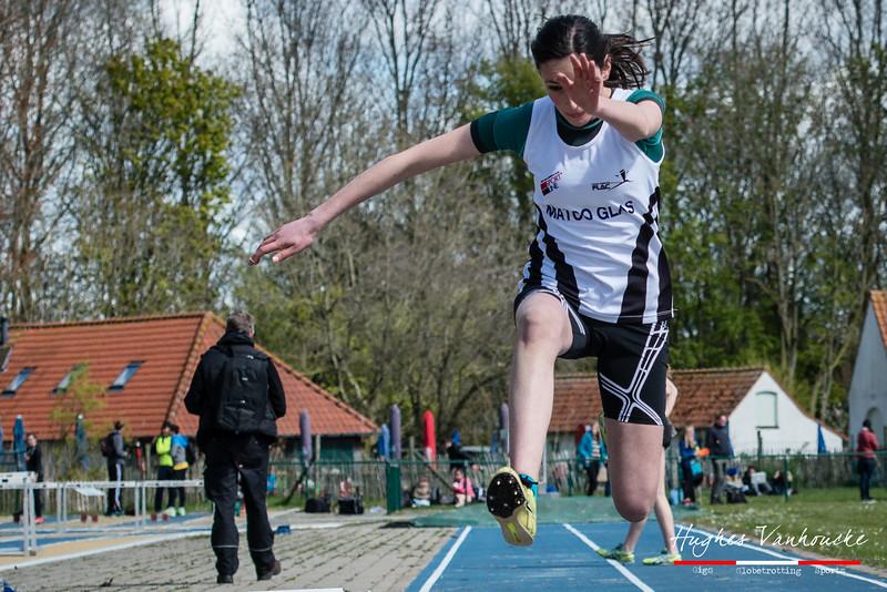 Birgit Dieryck (FLAC Ieper) met een sprong van 9,17 M bij de meisjes cadetten viel net naast het podium @ Provinciaal Kampioenschap Outdoor Atletiek - SC De Lenspolder - Nieuwpoort