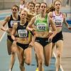 Inzet van laatste ronde met Sofie Lauwers (RAM) op kop voor Jessie Raes (Houtland AC) & Hanne Van Loock (DCLA) op de 800 M Dames @ Kampioenschap van Vlaanderen - BLOSO Topsporthal - Gent