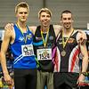 Podium 800 M met vlnr Viktor Benschop, Laurens Schockaert en Hans Omey @ Vlaamse Kampioenschappen - BLOSO Topsporthal - Gent