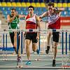 Laatste horde voor Denis Hanjoul met achter zich Sander Maes & Hans Van Alphen  (60 M horden - Reeksen) @ Kampioenschap van Vlaanderen - BLOSO Topsporthal - Gent