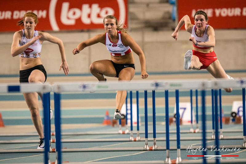 Kaat Hooybergs, Chloë Beaucarne & Fien Sprangers (60 M horden - Reeksen) @ Kampioenschap van Vlaanderen - BLOSO Topsporthal - Gent