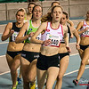 Posities na de eerste ronde met Hanne Van Loock (DCLA) op kop gevolgd door Sofie Lauwers (RAM), Jessie Raes (Houtland AC) en Yentl Vandenberghe (AV Lokeren) op de 800 M Dames @ Kampioenschap van Vlaanderen - BLOSO Topsporthal - Gent
