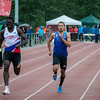 Winst op de 200 M voor Will Oyowe van CABW voor Antoine Gillet (Excelsior) & Jean-Marie Paul (RFCL)