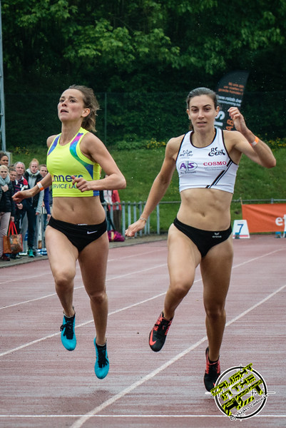 Finale 100 M Dames met Elke Vereecken (Volharding) & Sarah Rutjens (RC Gent) - Kampioenschap van Vlaanderen - Beveren-Waas - Oost-Vlaanderen