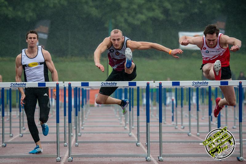Finale 110 M Horden met vlnr Niels Pittomvils (Topsport Vlaanderen/Looise AV), Dario De Borger (Belgisch Leger/ROBA) & Denis Hanjoul (DCLA) - Kampioenschap van Vlaanderen - Beveren-Waas - Oost-Vlaanderen