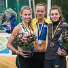 Het podium van de 1.500 M Dames: Juniore Renée Eykens, Sofie Van Accom & Vanessa Scaunet - Kampioenschap van Vlaanderen - Beveren-Waas - Oost-Vlaanderen