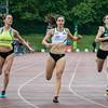 Finale 100 M Dames met vlnr Elke Vereecken (Volharding), Sarah Rutjens (RC Gent) & Shana Vanhaen (AC Meetjesland) - Kampioenschap van Vlaanderen - Beveren-Waas - Oost-Vlaanderen