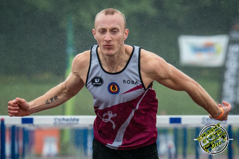 Finale 110 M Horden: Vlaams kampioen Dario De Borger (Belgisch Leger/ROBA) - Kampioenschap van Vlaanderen - Beveren-Waas - Oost-Vlaanderen