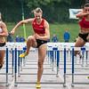 Choë Beaucarne (AC Deinze), Dorien Van Diest (Olympic Essenbeek Halle) & Agustina Zerboni (Argentinië) - Finale 100 M Horden dames - Kampioenschap van Vlaanderen 2015 - Beveren-Waas - Oost-Vlaanderen