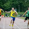 Finale 100 M Heren met vlnr Lars Herreman (Kortrijk Sport), Yannick Meyer (AC Waasland) & Wout Verhoeven (Vilvoorde AC) - Kampioenschap van Vlaanderen - Beveren-Waas - Oost-Vlaanderen