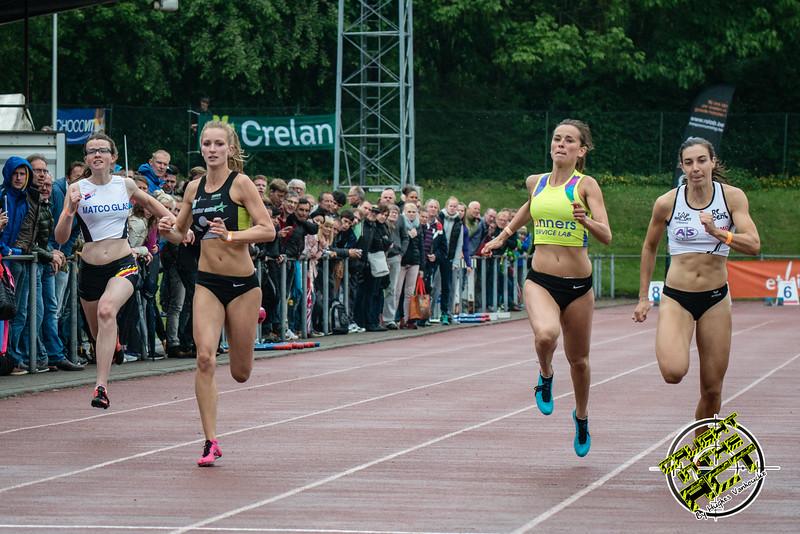 Finale 100 M Dames met vlnr Flore Stappers (FLAC Oostkamp), Orphée Depuydt (Houtland AC), Elke Vereecken (Volharding) & Sarah Rutjens (RC Gent) - Kampioenschap van Vlaanderen - Beveren-Waas - Oost-Vlaanderen