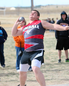 Kimball's Andy Barrett get ready to launch the shot put in Saturdays Kimball Invite. Barrett will place second in the event.