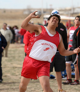 Minatare's Nate Garcia competing in the boys shot put at the Kimball Meet.