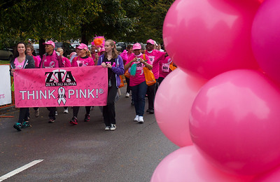 102012, Boston, MA - The Survivor's Parade, with the help of members from the Zeta Tau Alpha sorority, leads racers to the starting line for the Komen Massachusetts Race for the Cure at Joe Moakley Park on Saturday morning. Herald photo by Ryan Hutton