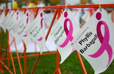102012, Boston, MA - The memorial row at the Komen Massachusetts Race for the Cure at Joe Moakley Park on Saturday morning. Herald photo by Ryan Hutton