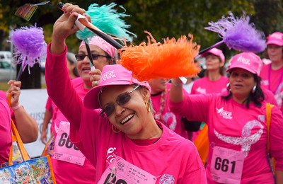 102012, Boston, MA - The Survivor's Parade leads racers to the starting line for the Komen Massachusetts Race for the Cure at Joe Moakley Park on Saturday morning. Herald photo by Ryan Hutton