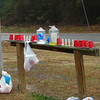 Water stop one.  Volunteers in the group stock the water stops each week with water, cups and Gatorade.