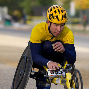 David Swope of New Windsor ME won the 2010 Marine Corps Marathon wheel chair overall rim division with a time of 2:07:25.