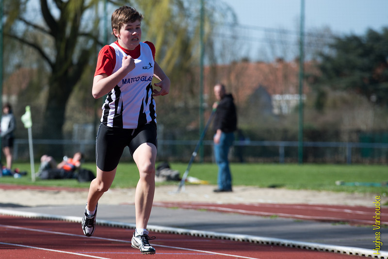 Jolien Steenhuyse op de 200 M<br /> Memorial Guy Dorchain - Wembley sportcomplex - Heule/Kortrijk<br /> Zaterdag 20 april 2013