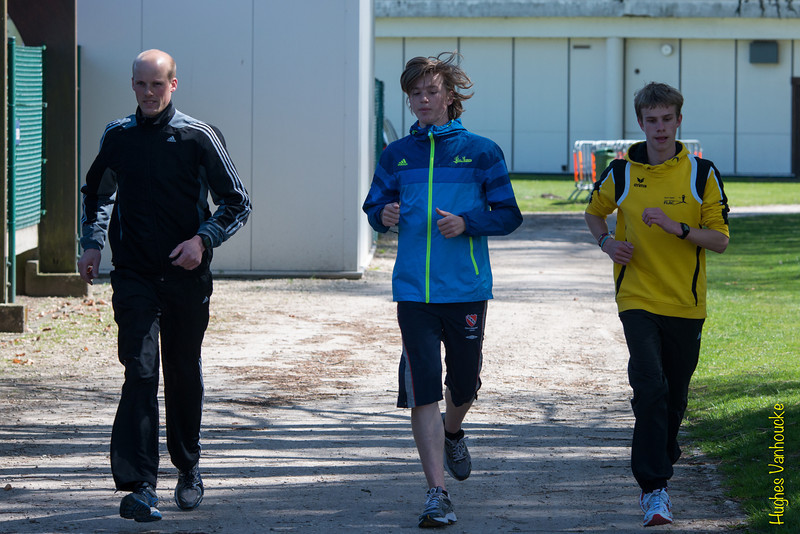 Jeroen Vandewalle, Yngwie Vanhoucke & Feinse Quatacker tijdens de opwarming voor de 1.000 M JSM<br /> Memorial Guy Dorchain - Wembley sportcomplex - Heule/Kortrijk<br /> Zaterdag 20 april 2013