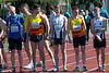 Start juniores, senioren & masters op de 1.000 M met vlnr op de eerste rij Jeroen Vandewalle, Lieven Vandeweghe, Yngwie Vanhoucke, Steven Callens & Feinse Quatacker<br /> Memorial Guy Dorchain - Wembley sportcomplex - Heule/Kortrijk<br /> Zaterdag 20 april 2013
