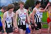 FLAC atleten Ygnwie Vanhoucke, Pieter Coene, Jonas Van Melkebeke & Jonas Tiersen net voor de start van de 1.000 M Juniores, Senioren & Veteranen - Sportcomplex Wembley - Kortrijk - België
