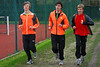 Yngwie Vanhoucke, Jonas Tiersen & Feinse Quatacker (FLAC Ieper) aan het opwarmen - Sportcomplex Wembley - Kortrijk - België