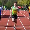 Cadet Tristan Glorie van MACW wint de 100 M voor Stijn Rombaut & Kandi Allan - Memorial Guy Dorchain - Wembley Sportcomplex - Kortrijk