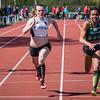 Strijd om de eerste plaats in de 100 M tussen Céline Delheye & Angel Agwazie - Memorial Guy Dorchain - Wembley Sportcomplex - Kortrijk
