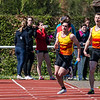 Laatste stokwissel op de 4 x 100 M tussen KKS atleten Ingmar Herreman & Bert Goethals - Memorial Guy Dorchain - Wembley Sportcomplex - Kortrijk