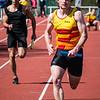 Bert Goethals van KKS in de laatste meters van de 4 x 100 M - Memorial Guy Dorchain - Wembley Sportcomplex - Kortrijk